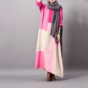 Color Block Loose Linen Dress Spring Casual Maxi Dress for Woman