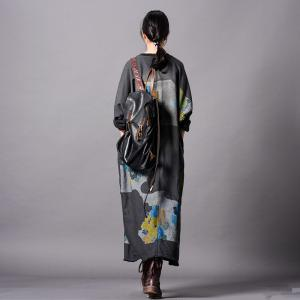 Big Pockets Cotton Printing Dress Korean Oversized T-shirt Dress