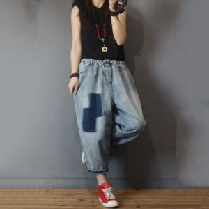 Korean Fashion Blue Patchwork Denim Bootcuts Baggy Drawstring Jeans