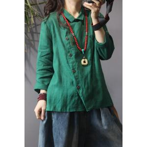 Slanted Button Down Embroidery Blouse Linen Oversized Ladies Shirt