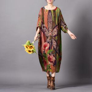 Classical Flowers Printed Silk Dress Comfy Elegant Knee-Length Dress