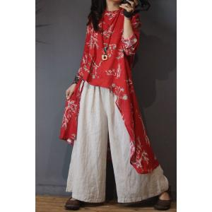 Fashion  Printed Designer Blouse Asymmetric Cotton Linen Wrap Shirt