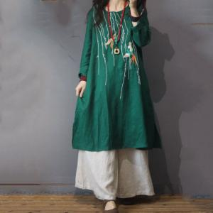 Linen Chinese Crane Embroidered Dress Vintage Knee-Length Dress