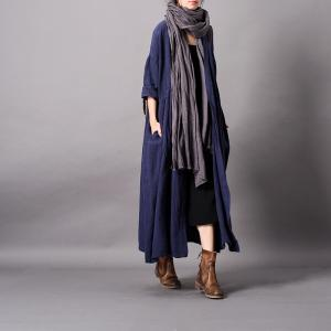 Plunging Neck Embroidered Wrap Dress Linen Long Kimono for Woman