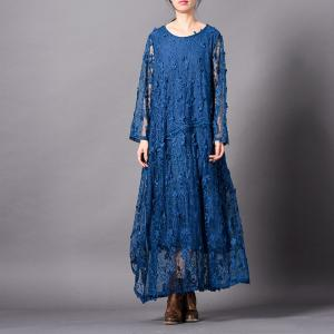 Cotton Lining Embroidery Lace Dress Maxi Beautiful Transparent Dress