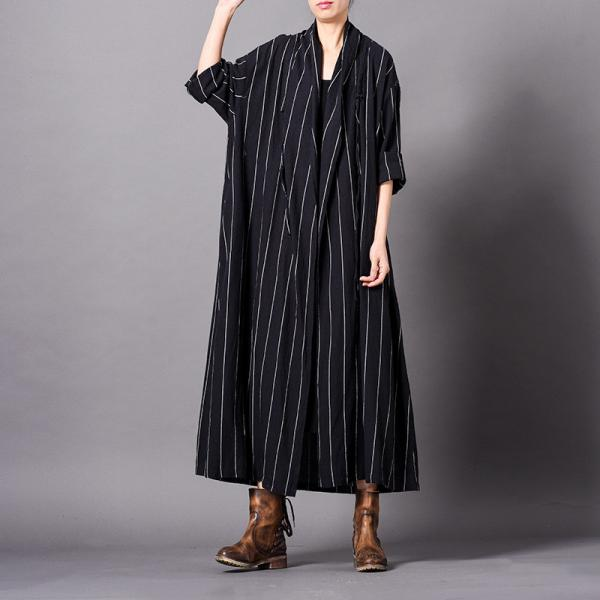 Chunky Stripes Loose Elegant Trench Coat Cotton Linen Black Cardigan