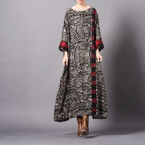 Ethnic Paisley Printed Vintage Fit and Flare Dress Plus Size Cotton Linen Clothing