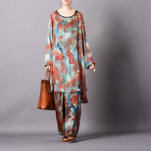 Comfy Style Ethnic Pattern Silk Sets Plus Size Vintage Two-Pieces
