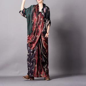 Dark Colored Printed Maxi Dress Loose Spring Designer Dress