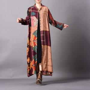 Abstract Patterns Button Down Cardigan Silky Elegant Shirt Dress