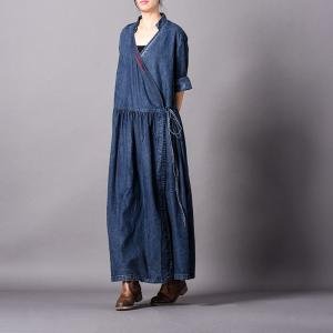 Fashion Embroidered Lines Denim Dress Pleated Flared Wrap Dress