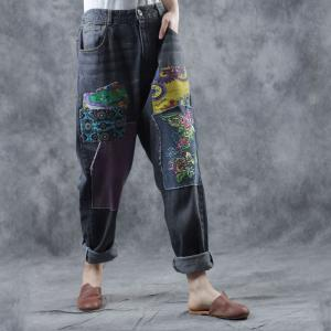 Folk Patchwork Embroidery Jeans Woman Baggy Straight-Legs Jeans
