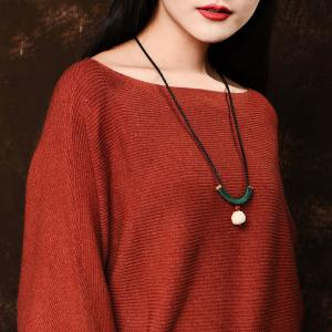 Vintage Lotus Collarbone Chain Smile Sweater Necklace