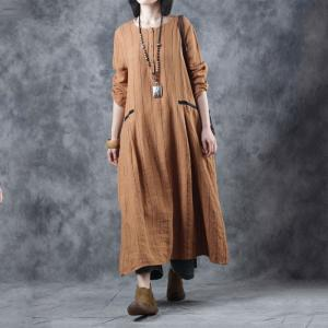Leisure Style Vertical Striped Dress Plus Size Linen Dress