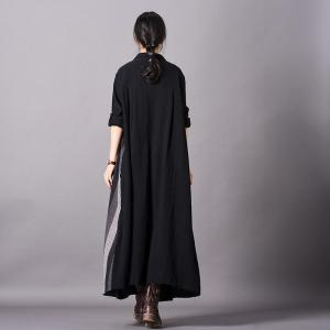 Folk-Styled Patchwork Black Cardigan Cotton Linen Oversized Shirt Dress