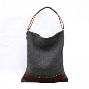 Cowhide Leather Splicing Cotton Linen Womans Bag Vintage Hobo Bag