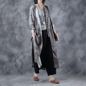 Special Buttons Ethnic Knee Length Dress Loose Vintage Cardigan
