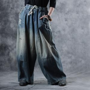 224bdd11b0b Vintage Blue Distressed Baggy Jeans Womans Fashion Wide Leg Jeans
