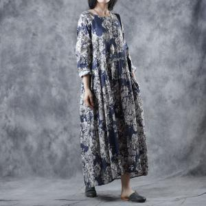 Blue Flowers Empire Waist Dress Ramie Loose Resort Dress