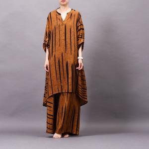 V-Neck Striped Asymmetrical Oversized Shirt with Silky Wide Leg Pants
