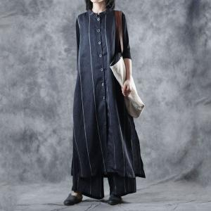 Vertical Striped Blue Linen Vest with Womans Palazzo Pants