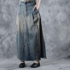 870b0db0666c High-Waist Maxi Frayed Skirt Loose Denim Ripped Skirt