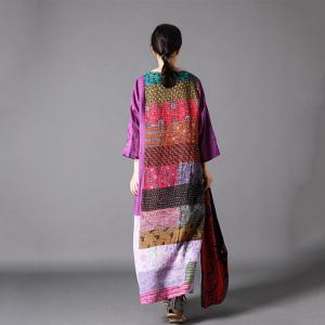 Purple Patchwork Ethnic Tent Dress Loose Ramie Vacation Dress