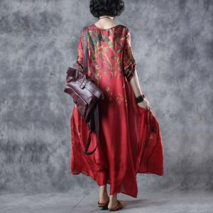 Chinese Style Printed Silk Dress Plus Size Vintage Maxi Dress