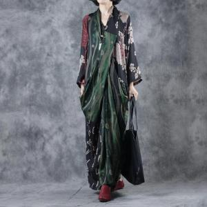 Vintage Printed Wrapped Maxi Dress Long Sleeve Silk Dress