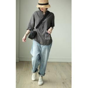 Colorful Striped Pockets Linen Oversized Shirt Comfy Ladies Blouse