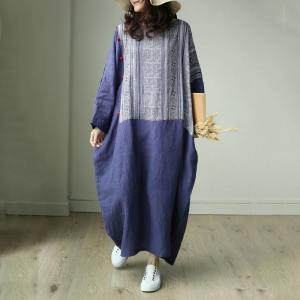 Chinese Style Linen Plus Size Folk Dress Flared Ethnic Caftan