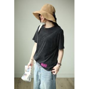 Korean Style Patchwork Casaul T-shirt Short Sleeve Loose Cotton Tee
