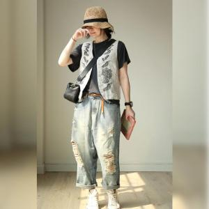 Street Style Baggy Ripped Jeans Womans Straight-Leg Jeans