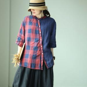 Leisure Style Linen Ladies Shirt Slanted Buttons Checkered Blouse