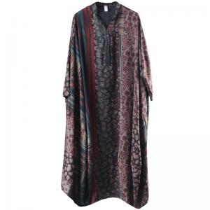 Large Size Silky Caftan Dress Vintage Balloon Boho Dress