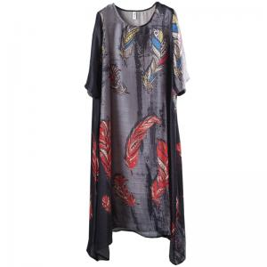 Beautiful Feather Prints Fit and Flare Dress Plus Size Maxi Caftan
