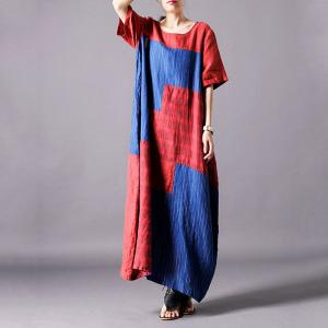 Red and Blue Loose Checkered Dress Classic Flax Clothing