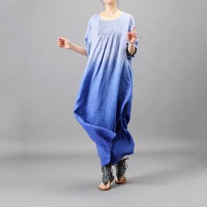 Gradient Blue Long Pleated Dress Cotton Linen Fit and Flare Dress