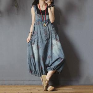 185b2323dc Plus Size Printed Balloon Overalls Cotton Layering Floral Jumpsuit