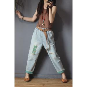 Korean Style Colorful Harem Jeans Womans Ripped Skinny Jeans