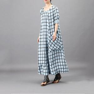 Big Front Pockets Plain Tartan Dress Loose Flared Grid Frock