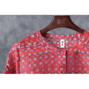 Flap Pockets Dotted Printed Sun-Proof Wear Breathable Red Cardigan