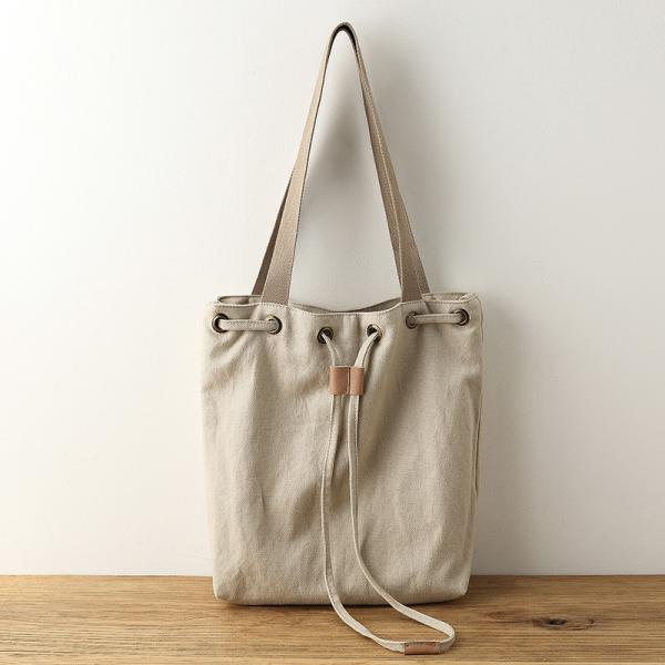 Simple Design Cotton Linen Bucket Bag Womans Casual Drawstring Bag