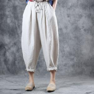 Solid Color Flax Straight-Leg Pants Casual Comfy Summer Harem Pants