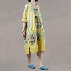 f9f4026dee69 Big Flowers Yellow Knee Length Dress Oversized Casual T-shirt Dress -  Morimiss.com