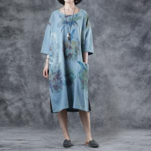 a6575896ca53 Large Size Blue Printed Casual Dress Short Summer T-shirt Dress