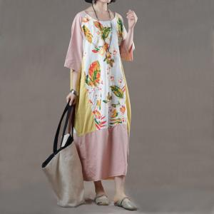 8713637fa9f1 Comfy Style Printed Patchwork Korean Dress Oversized Pink T-shirt Dress
