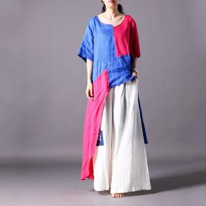 Contrast Color Asymmetrical T-shirt Cotton Linen Designer T-shirt