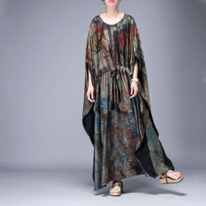 Dark-Colored Printed Wrap Dress Plus Size Vintage Cloak Dress for Senior  Woman