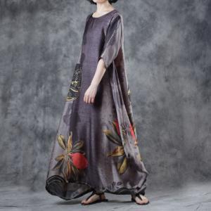 ecfa7d1d6b9 Vintage Flowers Printed Chinese Dress Loose Black Tent Dress